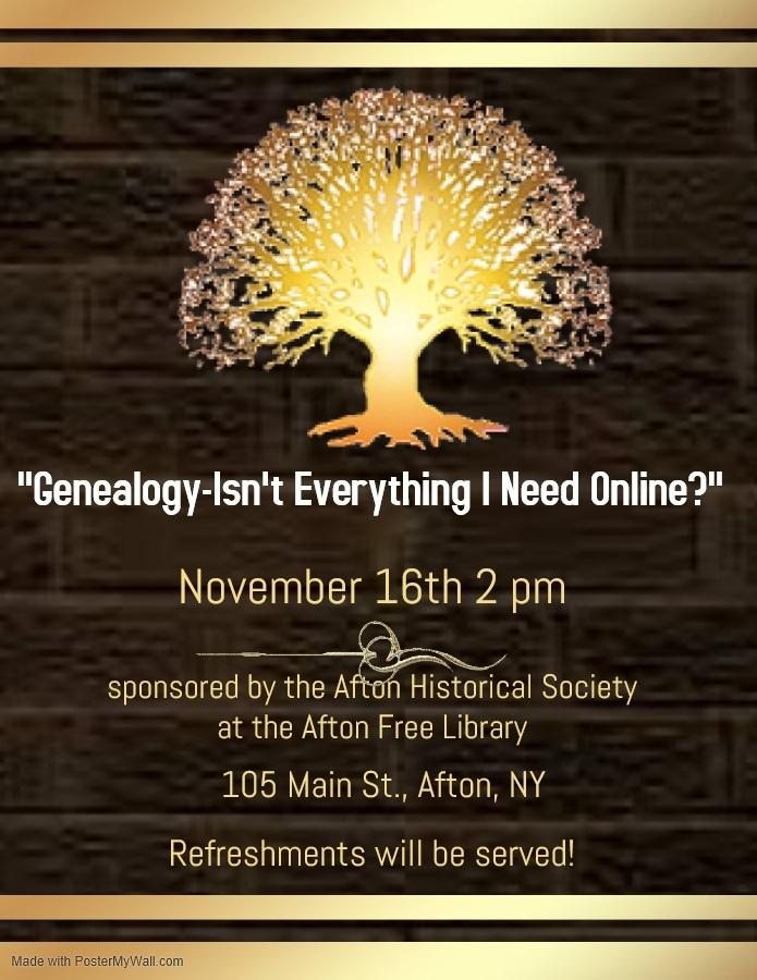 """""""Genealogy-Isn't Everything I Need Online?"""" – November 16"""