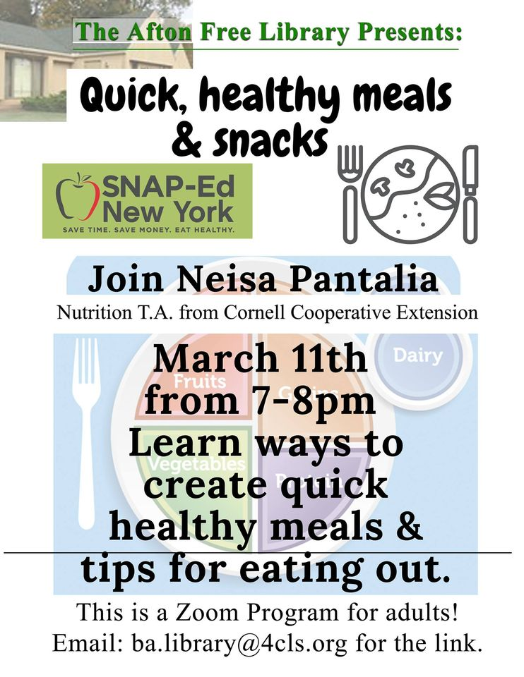 Quick Healthy Meals & Snacks program- March 11