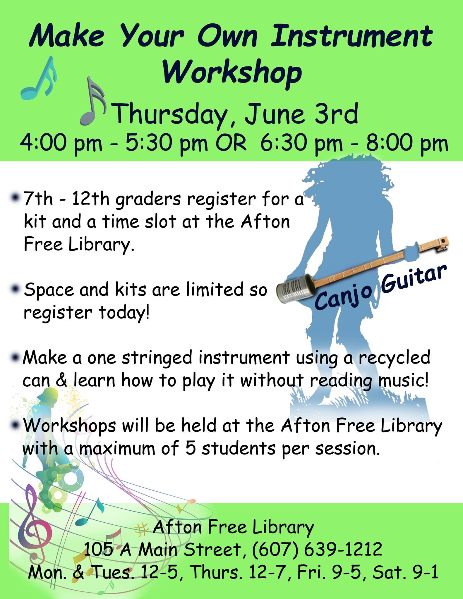 Teen Make Your Own Instrument Workshop – June 3