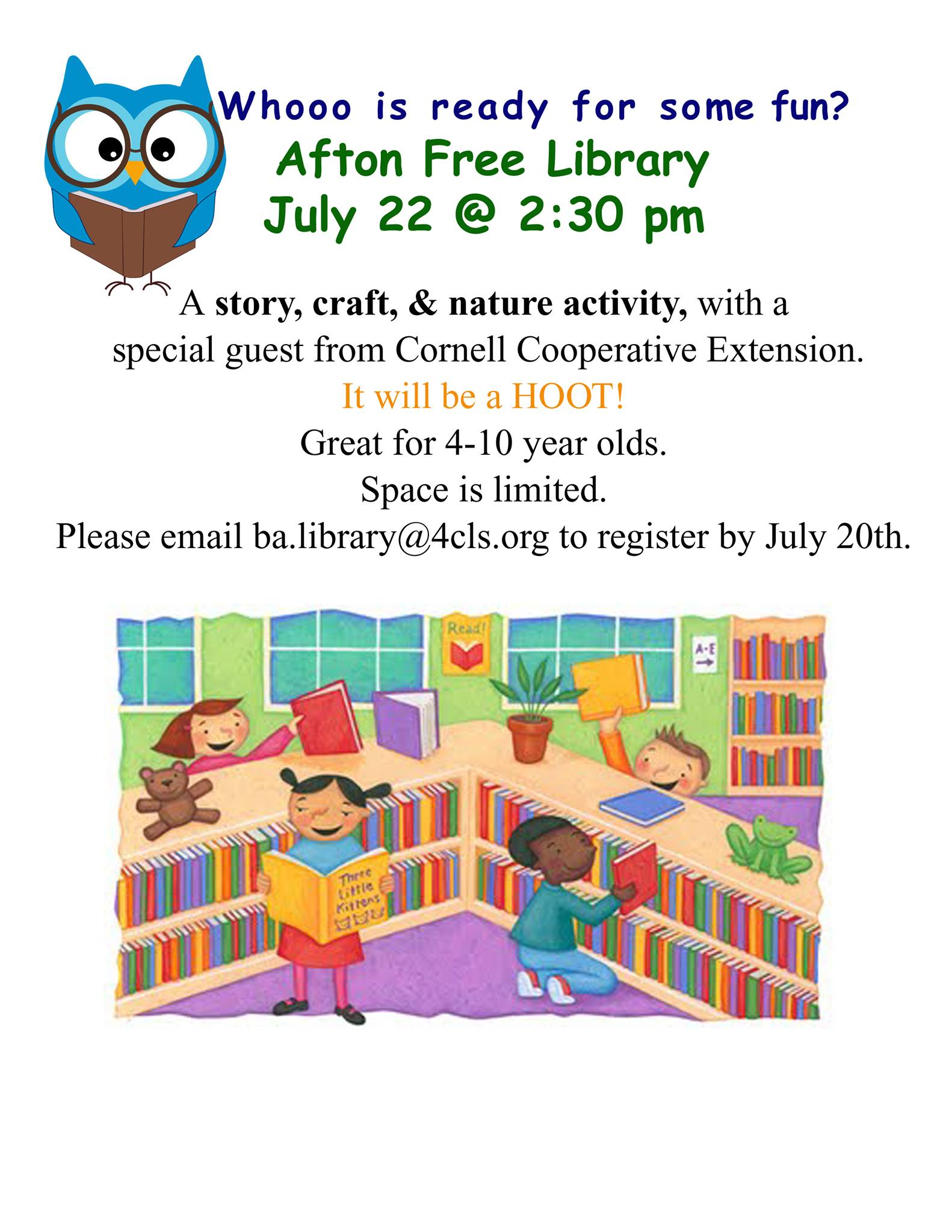 Afton Free Library In-person Summer Reading Program- July 22 at 2:30 PM
