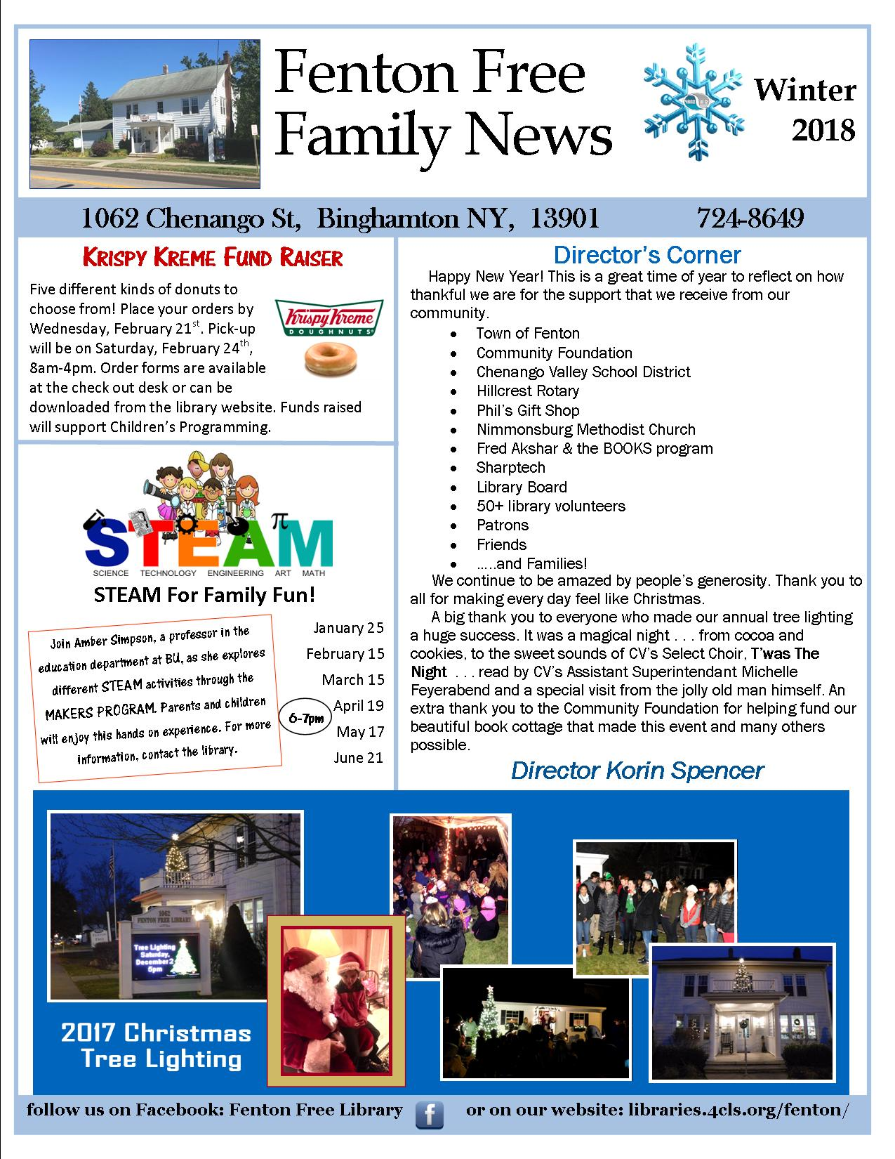 2018 WINTER NEWSLETTER Fenton Free Library