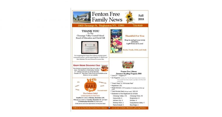2018 FALL FENTON FREE NEWSLETTER