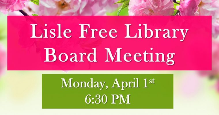 April Library Board Meeting