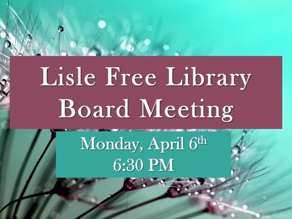 April Board of Trustee Meeting