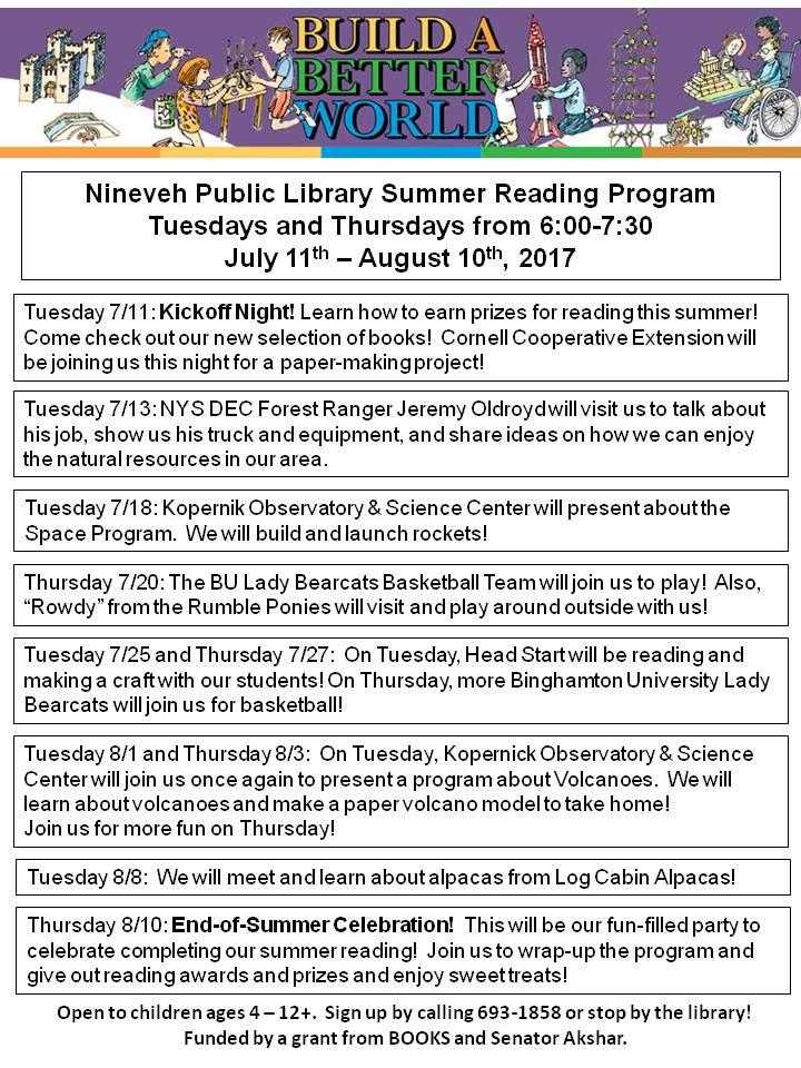 Summer 2017 Schedule Flyer Newletter