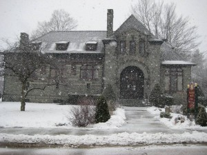 snowy front of library