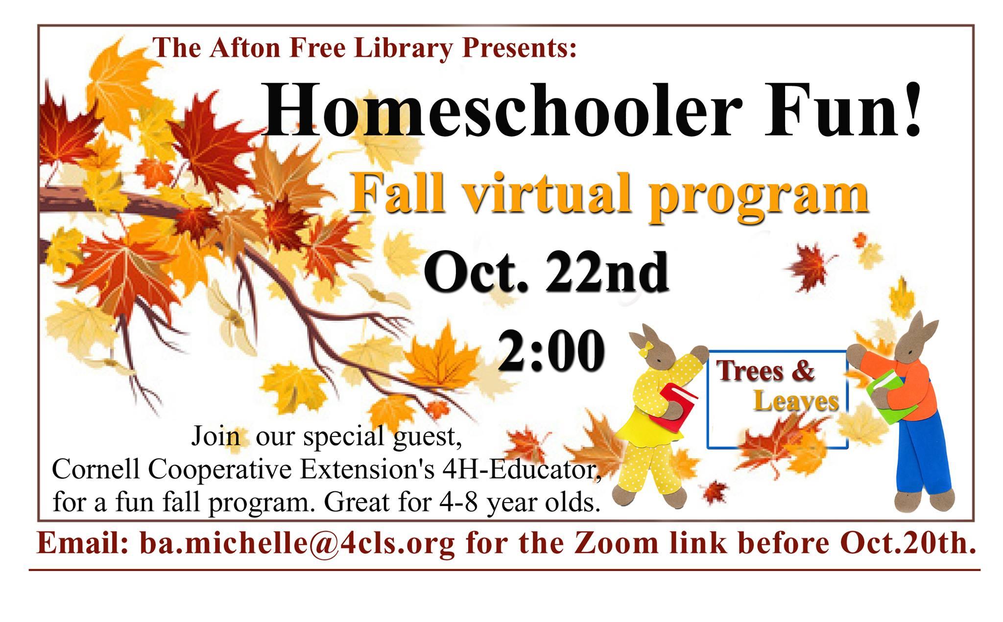 Homeschooler Fun Virtual Program – October 22